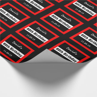 80th Birthday Black with Red Frame Custom A01E Wrapping Paper