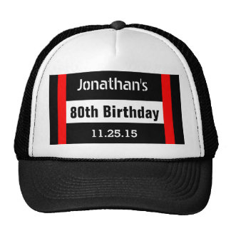 80th Birthday Black with Red Frame Custom A42B Cap