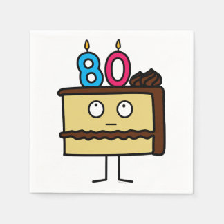 80th Birthday Cake with Candles Disposable Napkin