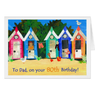 80th Birthday Card for a Father - Beach Huts
