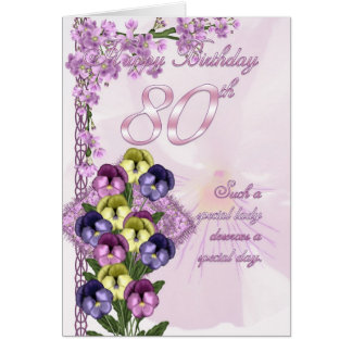 80th Birthday Card For A Special Lady