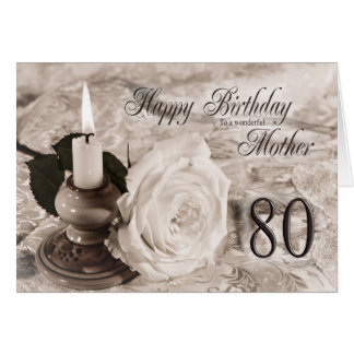 80th Birthday card for mother The candle and rose