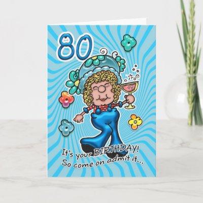 80th Birthday Card - Fun Lady With Glass Of Wine | Zazz