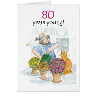 80th Birthday Card - Gardener