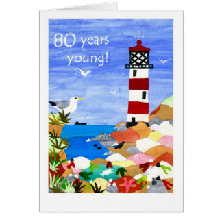 80th Birthday Card - Lighthouse