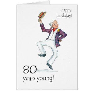 80th Birthday Card - Man Dancing!