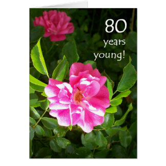 80th Birthday Card - Pink Roses