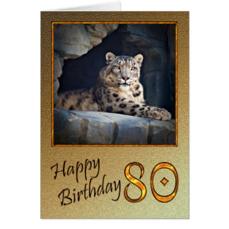 80th Birthday Card with a snow leopard
