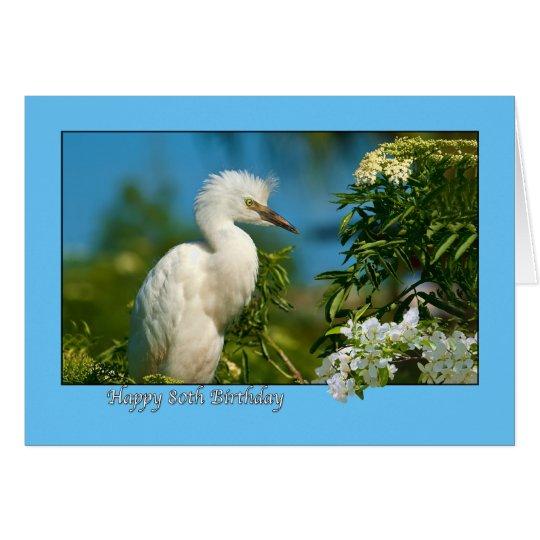 80th Birthday Card with Snowy Egret Bird