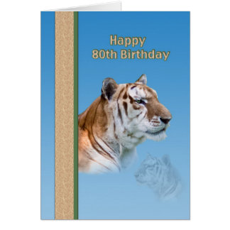 80th Birthday Card with Tiger