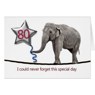 80th Birthday card with tightrope walking elephant