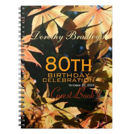 80th Birthday Celebration Autumn Custom Guest Book