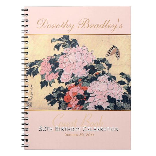 80th Birthday Celebration Butterfly Peonies Guest Notebooks