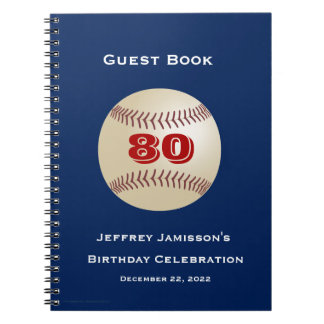 80th Birthday Celebration Guest Book, Baseball Spiral Notebook