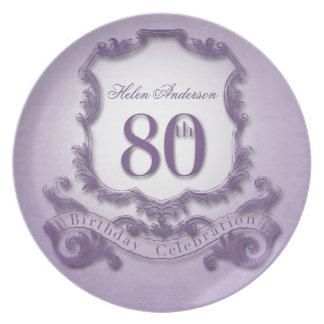 80th Birthday Celebration Personalized Plate