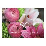 80th Birthday Celebration!-Pink Flowers Custom Invite