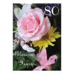 80th Birthday Celebration!-Pink Rose Bouquet Personalised Invitations
