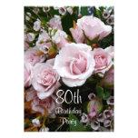 80th Birthday Celebration-Pink Roses Invitations