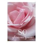 80th Birthday Celebration!-Pretty Pink Rose Custom Invitations