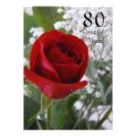 80th Birthday Celebration-Red Rose Custom Invitation