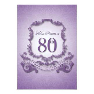 80th Birthday Celebration Vintage Frame -2- 9 Cm X 13 Cm Invitation Card