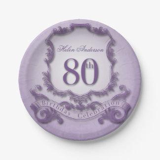 80th Birthday Celebration Vintage Frame 7 Inch Paper Plate