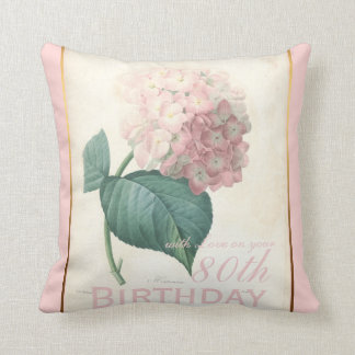 80th Birthday Celebration Vintage Hydrangea Pillow Cushion