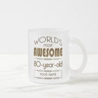80th Birthday Celebration World Best Fabulous Frosted Glass Mug