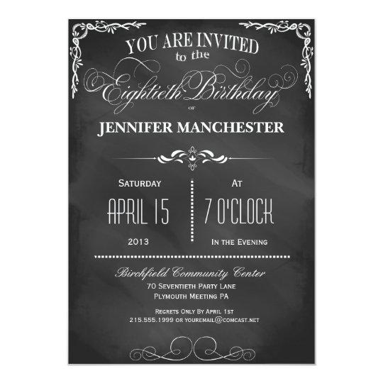 80th Birthday Chalkboard Typography Party Invite