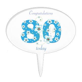 80th birthday congratulations blue flowers custom oval cake topper