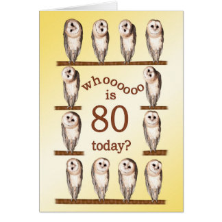 80th birthday, Curious owls card. Card