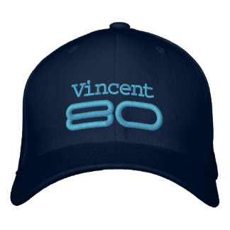 80th Birthday Custom Name BLUE Embroidery A04 Embroidered Hat