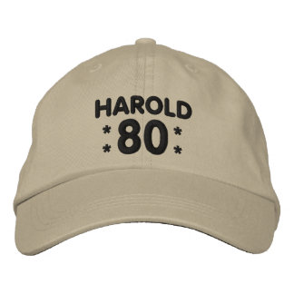 80th Birthday Custom Name KHAKI and BLACK H80D Embroidered Cap
