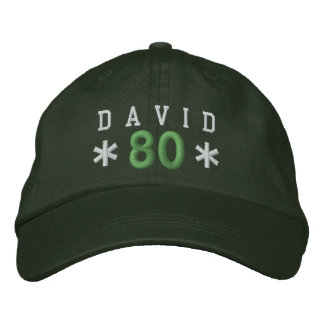 80th Birthday Custom WHITE GREEN Embroidery H80B Embroidered Hats