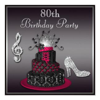 80th Birthday Disco Diva Cake and Heels Hot Pink 13 Cm X 13 Cm Square Invitation Card