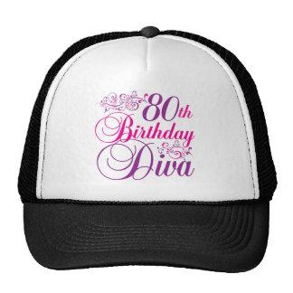 80th Birthday Diva Trucker Hats