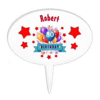 80th Birthday Festive Colorful Balloons C01HZ Cake Picks