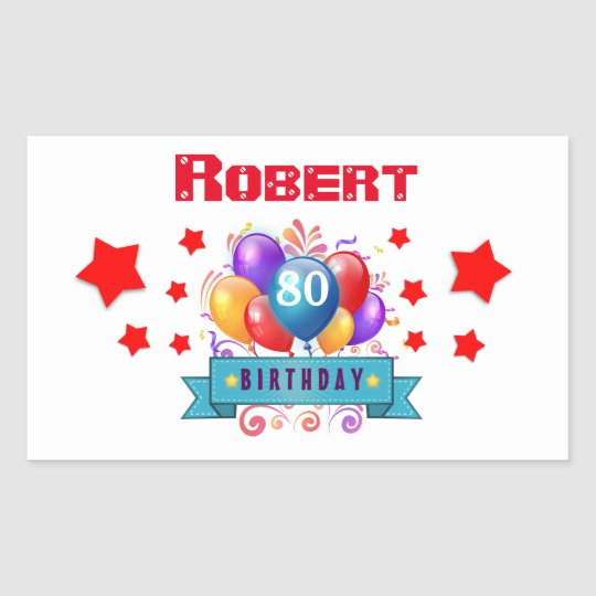 80th Birthday Festive Colourful Balloons C01HZ Rectangular