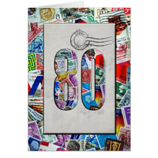 80th Birthday for stamp collector Greeting Card