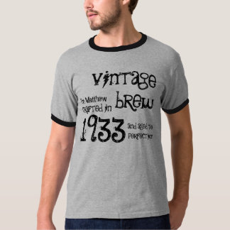 80th Birthday Gift 1933 Vintage Brew Name For Him T-Shirt