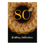 80th Birthday Gold Wreath of Roses Custom Invites