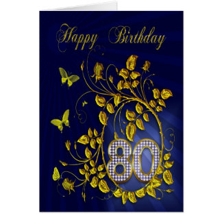 80th Birthday golden butterflies Card