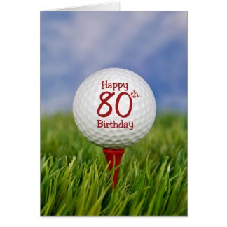 80th Birthday Golf Ball Card