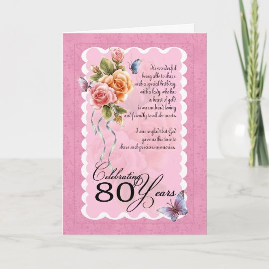 Birthday Wishes 80 Years Old 80th Greeting Card