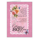 80th birthday greeting card - roses and butterfly
