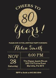 80th birthday invitations announcements zazzle 80th birthday invitation black and gold glitter filmwisefo