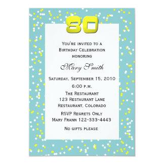 80th Birthday Invitation Confetti