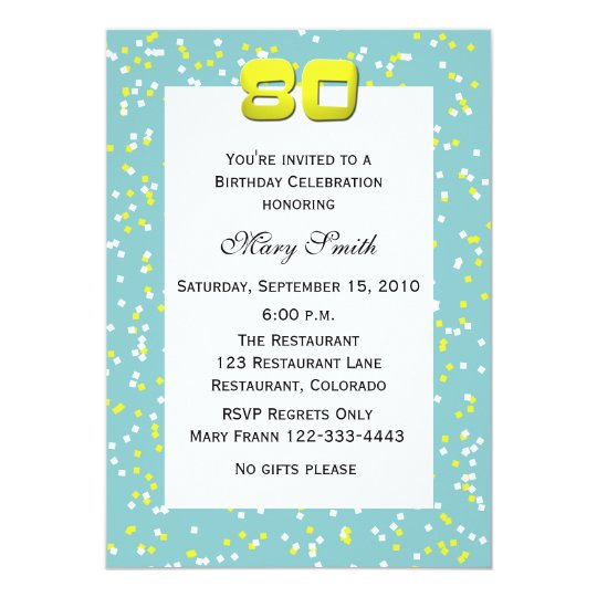80th Birthday Invitation Confetti