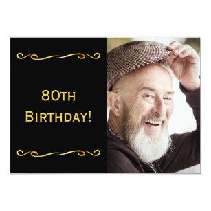 80th Birthday Invitation Photo Black For Guys