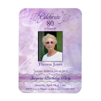 80th Birthday Invitation Photo Magnets